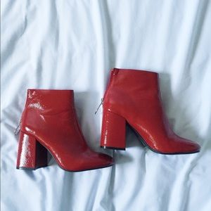 Red Faux Patent Leather Ankle Boots